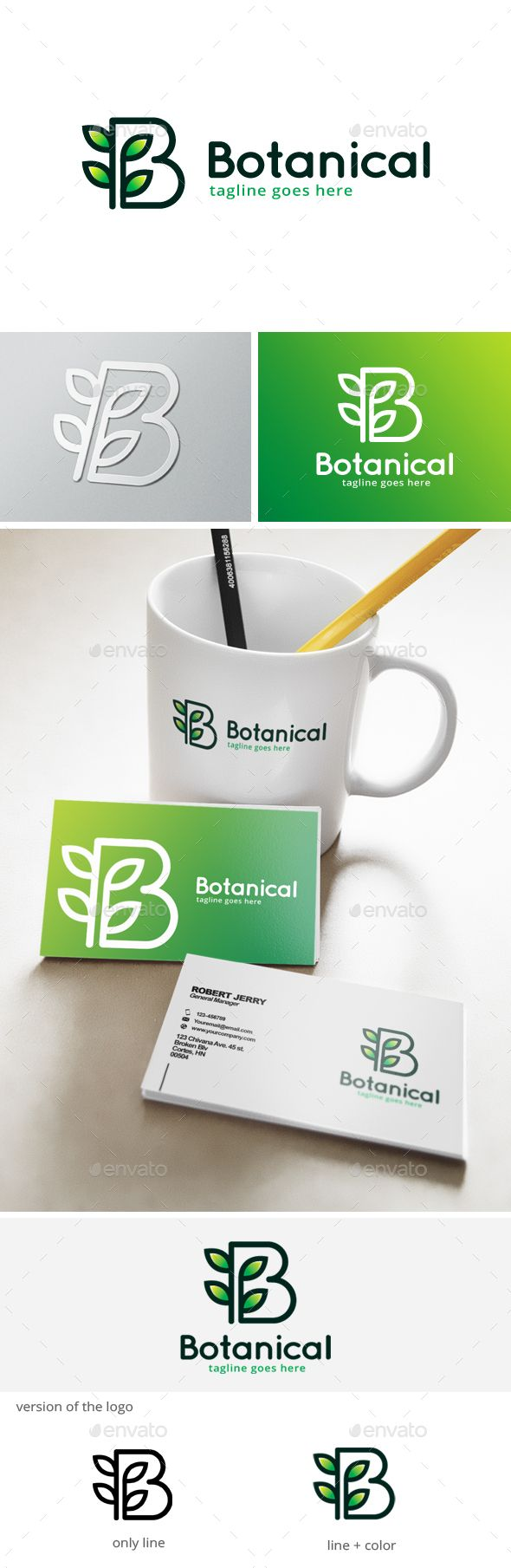 Logotype butterfly and letter b in different colour variants on a - Botanical Letter B Logo