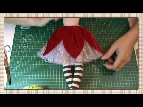 Tutorial Hada de la Navidad: Vestido 2ª parte: sobre falda - YouTube