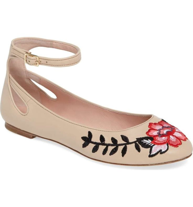 Add a playful pep to every step you take in this leather ballet flat embellished with gorgeous floral embroidery and finished with a slim ankle strap.