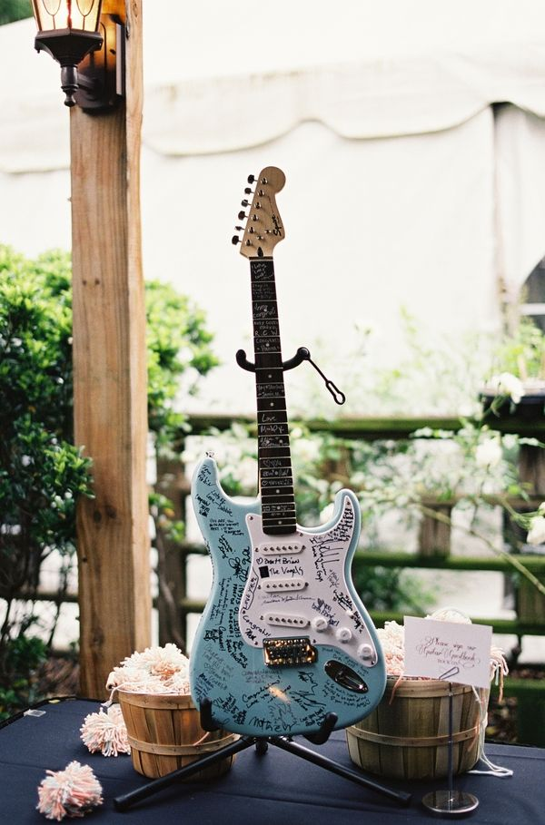 Guitar guest book rock n roll wedding | loren routhier photography