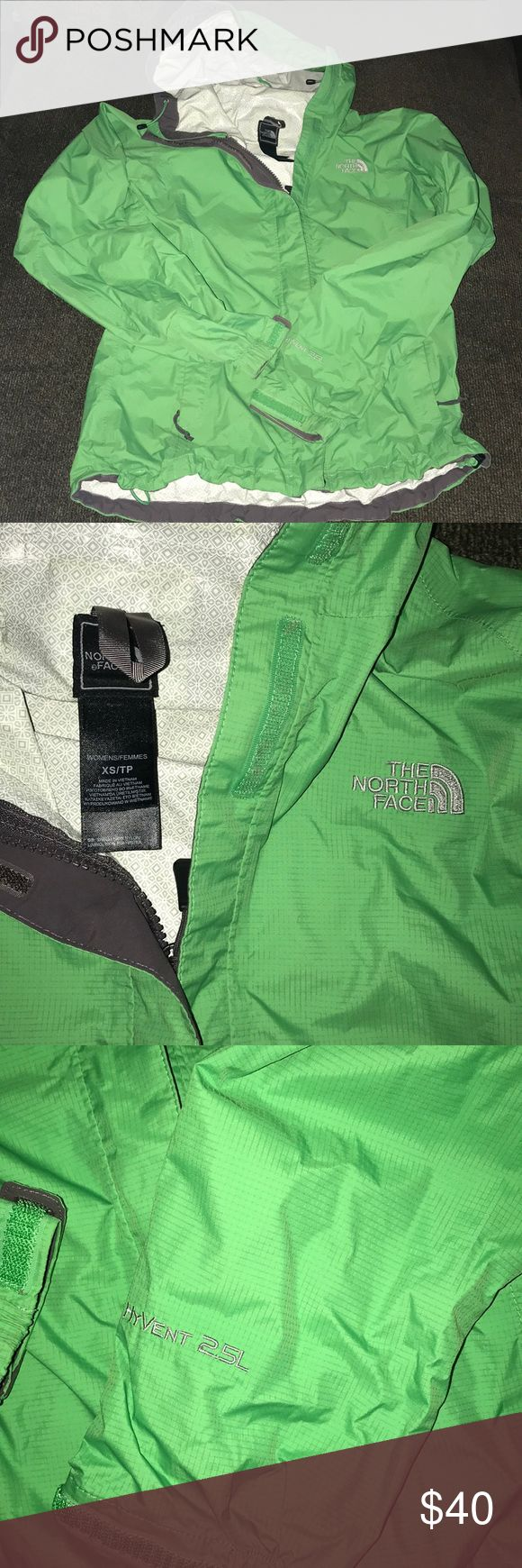 North Face HyVent 2.5L Rain Jacket Size XS Excellent condition. No Flaws. Pretty green color. Fits true to size. All zippers and closures work perfectly. Lowest offer is the price listed. No trades or Mercari. Price firm unless bundled. No offers on bundles that are already discounted. North Face Jackets & Coats