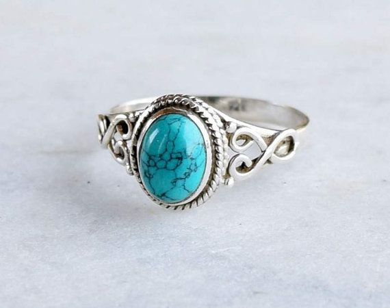 Turquoise ring silver ring stone ring silver by silvershop925