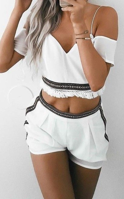 #summer #outfits / crop top + romper
