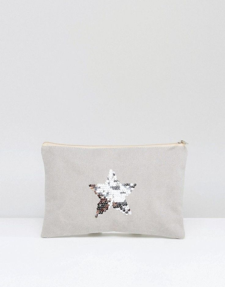 South Beach Washed Gray Clutch Bag With Silver Star - Gray