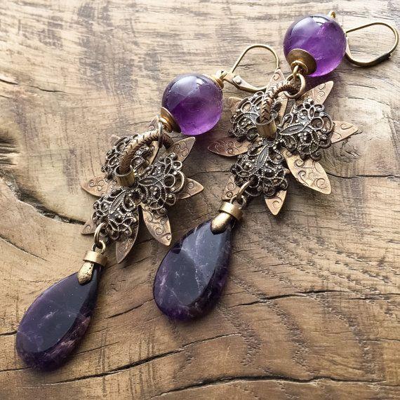 Amethyst earrings Bohemian teardrop earrings by lecoupdegrace