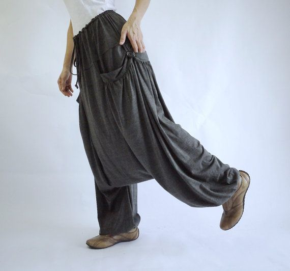PLUS SIZE - Gypsy Boho Funky Hippie Ninja peso leggero Casual elegante grigio scuro Heather cotone Stretch Mix uomini donne Sarouel - P011