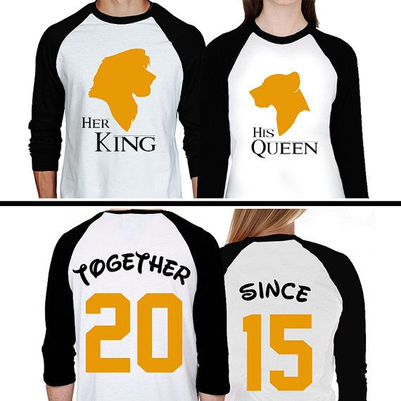 The Lion King Couples Raglan Shirts - Simba and Nala Jasmine Matching Baseball Shirts - His and Hers Disney Inspired Custom Shirts