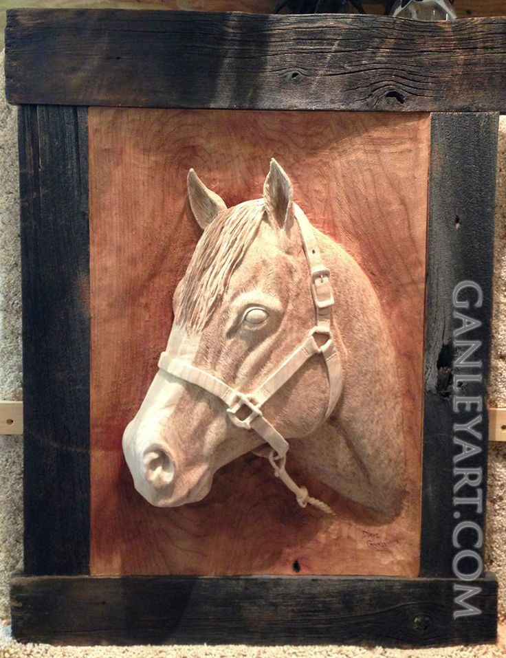 Dave Ganley woodworking... horse head: very detailed and intricate wood carving done all by hand.