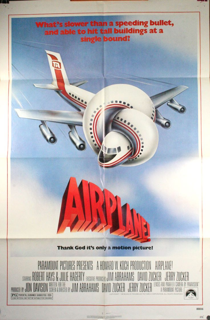 AIRPLANE!, 1980. Directed by Jim Abrahams, David Zucker, Jerry Zucker. Starring Robert Hays and Julie Hagerty. Click through for retrospective article on the film's impact.