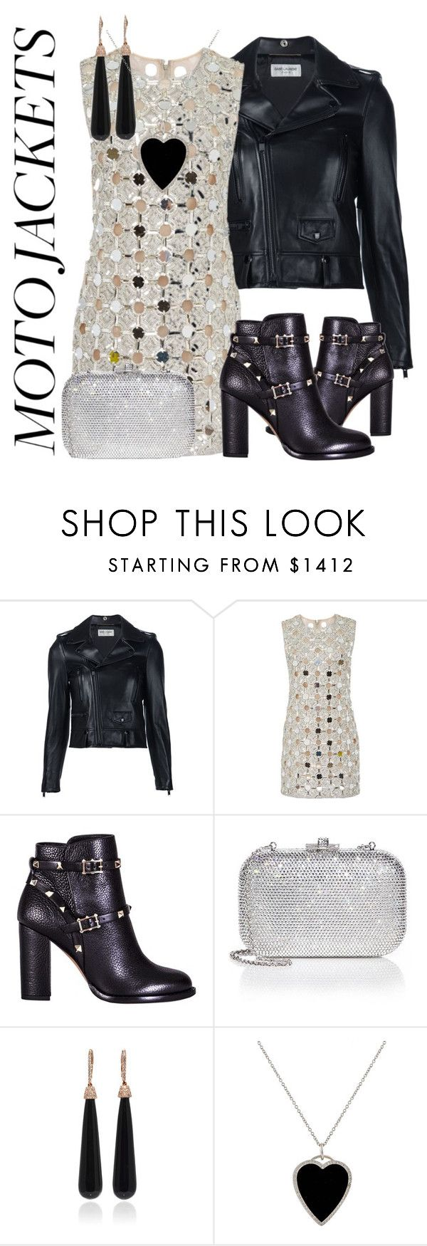 """""""moto"""" by kimir-and ❤ liked on Polyvore featuring Yves Saint Laurent, KaufmanFranco, Valentino, Judith Leiber, SUSAN FOSTER, Jennifer Meyer Jewelry, jacket, motojacket and moto"""