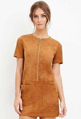Faux Suede Shift Dress - Dresses - 2000145861 - Forever 21 EU English