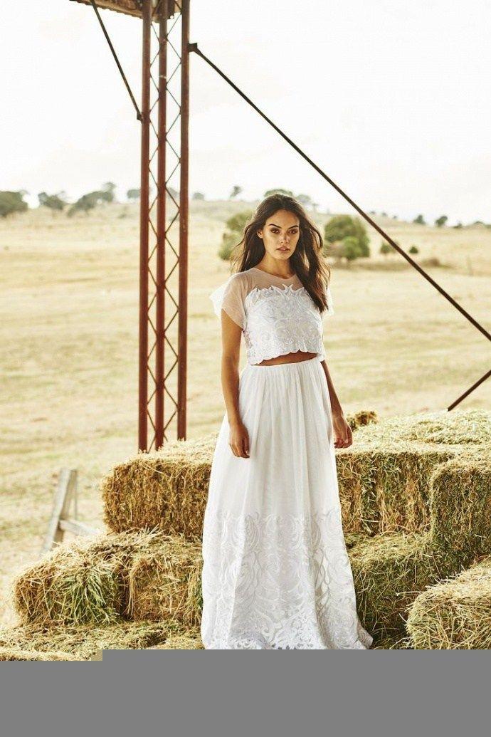 rendas não estruturados vestido de noiva de duas peças