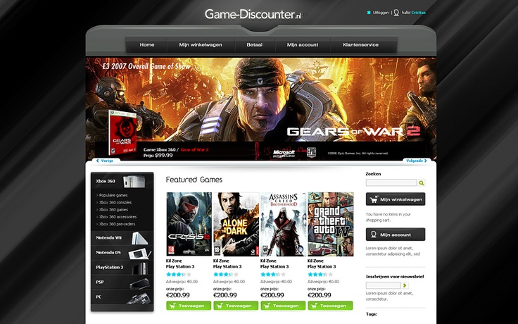 gamer site design