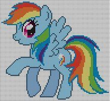 Rainbow Dash Cross Stitch Pattern by ~Jackiekie My Little Pony Crafts Tutorial  My Little Pony Patterns for Fan Art Diy Projects, My Little Pony Sewing Template for  Unicorn , pony, ponies, pattern, template, sewing, diy , crafts, kawaii, MIP