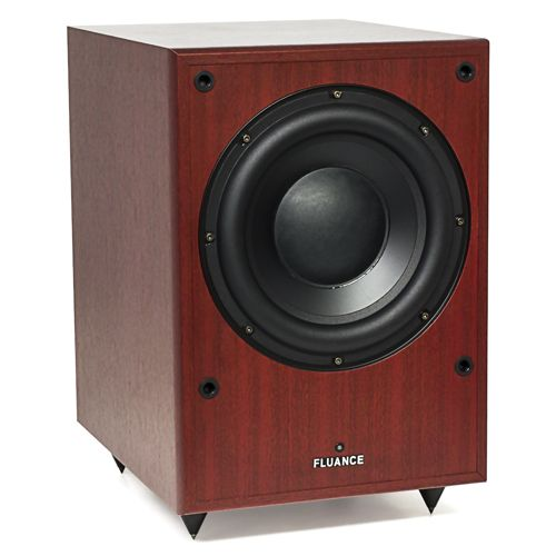 Image of Fluance DB150 10 inch 150 Watt Low Frequency Powered Subwoofer-Mahogany