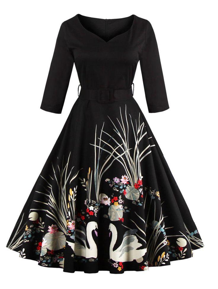 Vintage Printed Belted High Waist Dress