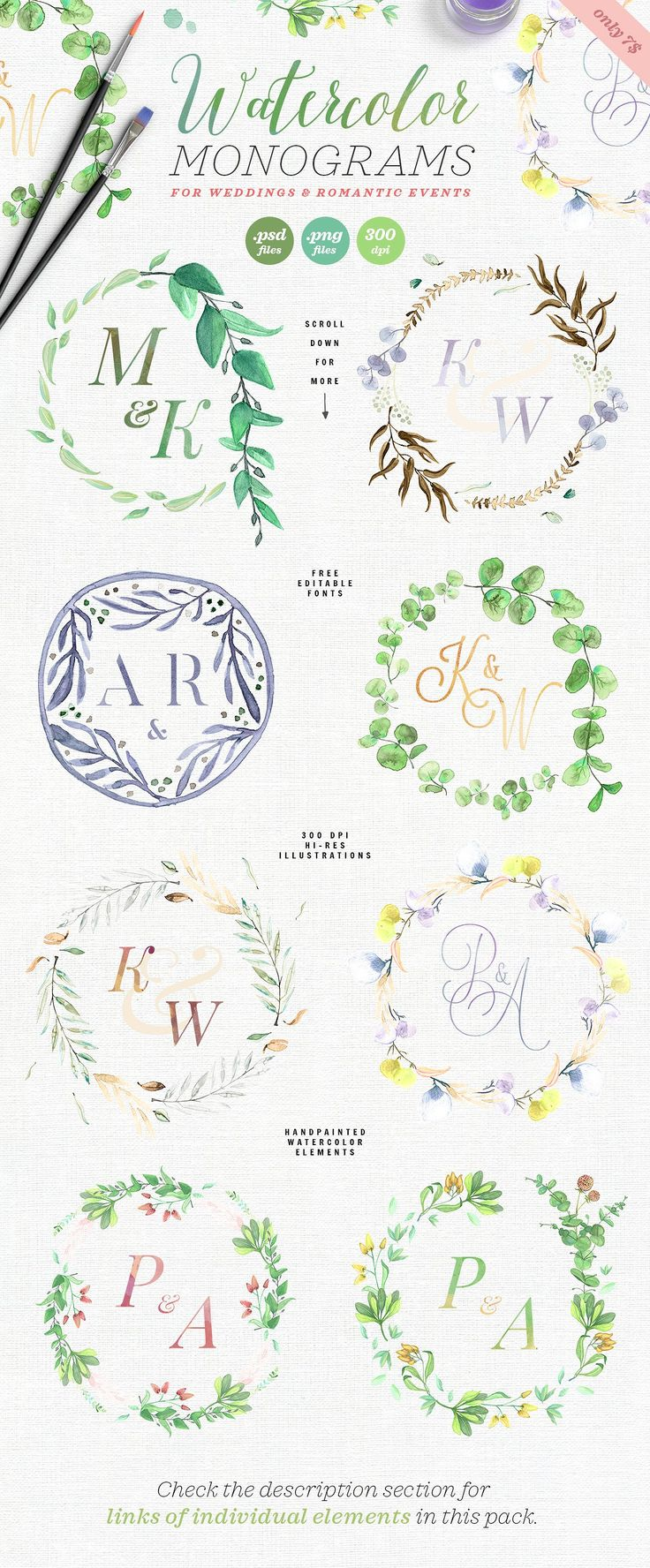 8 Watercolor Wedding Monograms I by The Wedding Shop on @creativemarket