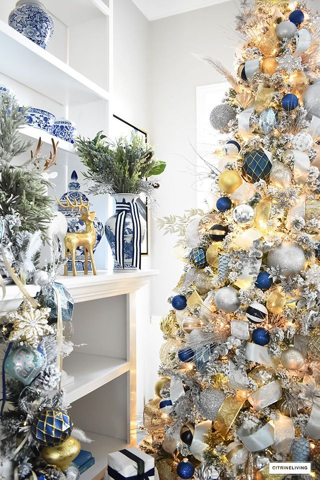 Christmas Home Tour Living Room With Blue White And Gold Gold Christmas Decorations Silver Christmas Tree Gold Christmas Tree