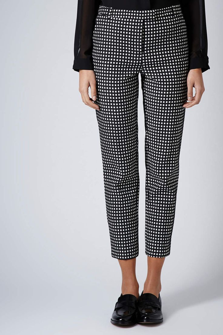 Gingham Cigarette Trousers - Topshop