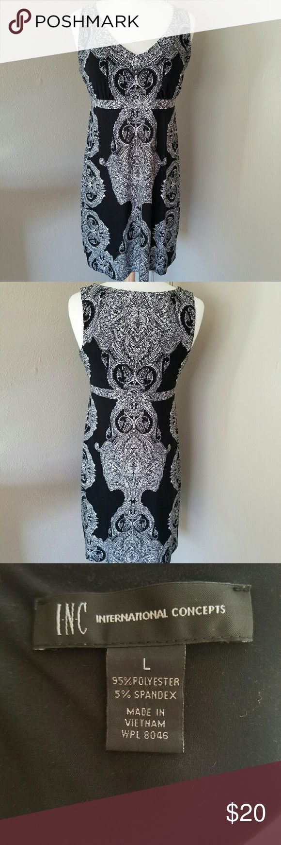 Patterned Black Dress EUC  Stretchy material with scattered studs and very light padding I'm the bust. INC International Concepts Dresses