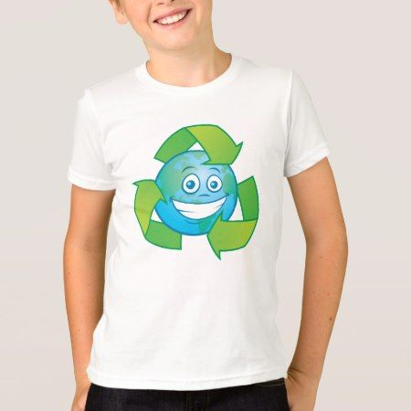 Planet Earth Recycle Cartoon Character T-Shirt - click/tap to personalize and buy