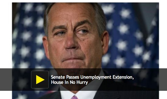 """""""Senate Passes Unemployment Extension, House In No Hurry To Do The Same."""" (click through to read more)"""