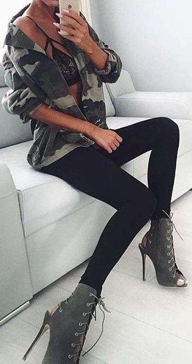 #summer #trendy #outfits  |  Camo + All Black