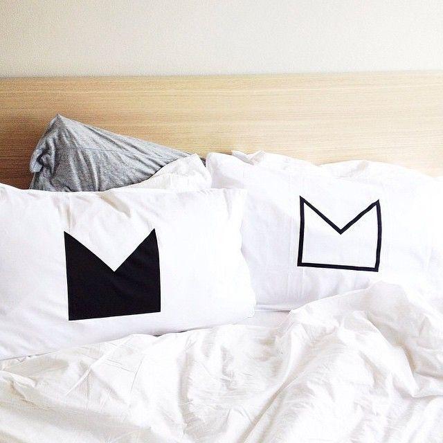 Black Crown Organic Cotton Pillowcases | via Andi C Singer | www.jenniferandsmith.com