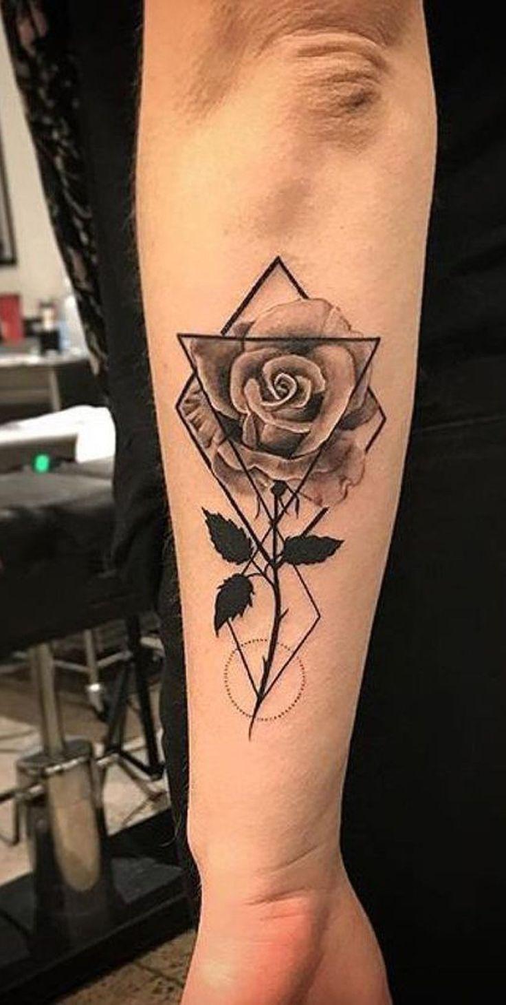 Geometrische Rose Tattoo Ideen für Frauen – Black Floral Flower Forearm Tat – www.My
