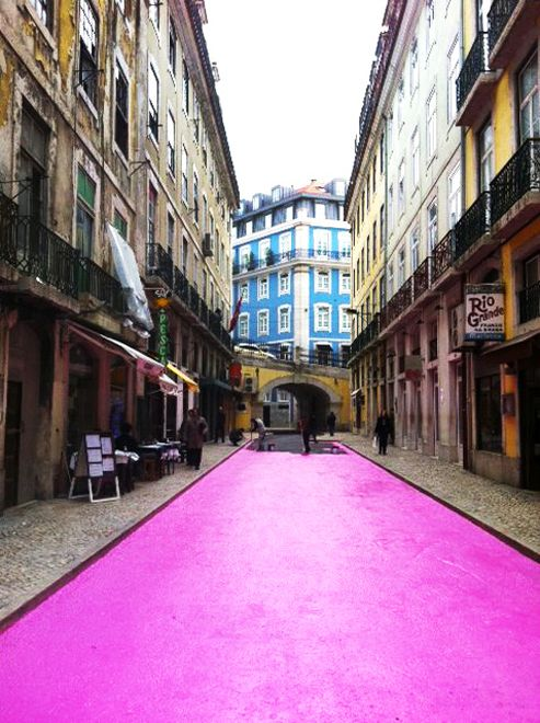 Pink street; the Rua Nova do Carvalho in the Cais do Sodré, Lisbon, Portugal.