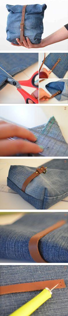 Un paio di vecchi jeans recuperati durante il cambio di stagione possono diventare una pochette davvero unica!