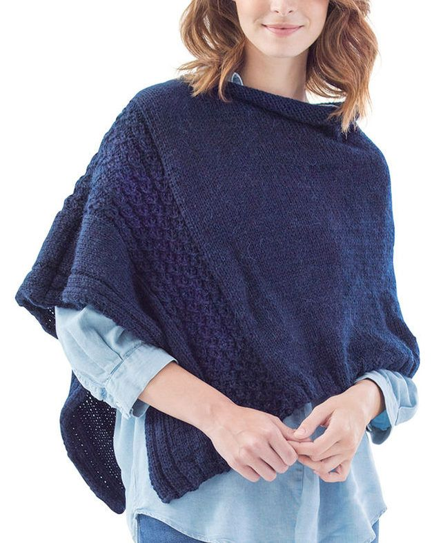 Free Knitting Pattern for Easy Virtual Cable Poncho - This poncho is knit flat in one piece and seamed. Knit with stockinette rib and a 4 row repeat mock cable pattern. Worsted weight yarn on US size 7 needles. This pattern seems easy to me though it may be a little confusing for a beginner.
