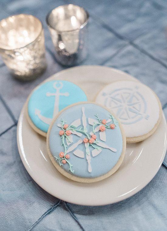 nautical wedding cookies