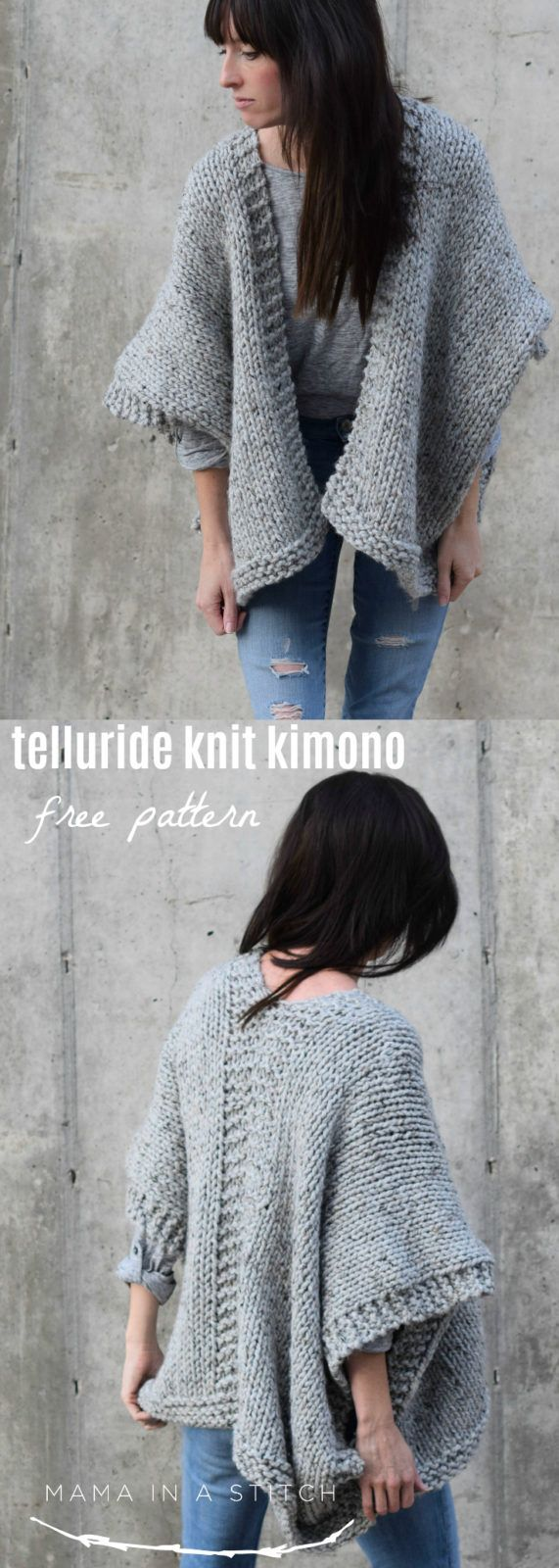 This easy, free knitting pattern for a knit kimono cardigan is so simple and cozy! via @MamaInAStitch