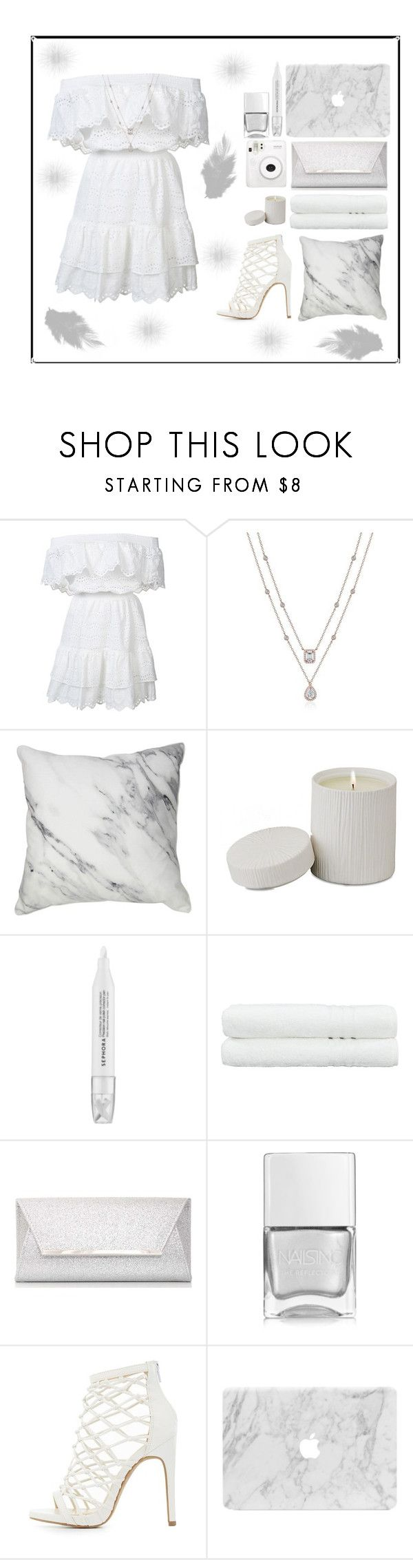 """""""On Angel's Wings"""" by amber-mistry ❤ liked on Polyvore featuring LoveShackFancy, Global Views, Sephora Collection, Linum Home Textiles, Dorothy Perkins, Nails Inc., Charlotte Russe and Fuji"""