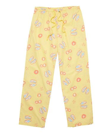 Look at this #zulilyfind! Canary Yellow Flip Flop Pajama Pants by Life is good® #zulilyfinds