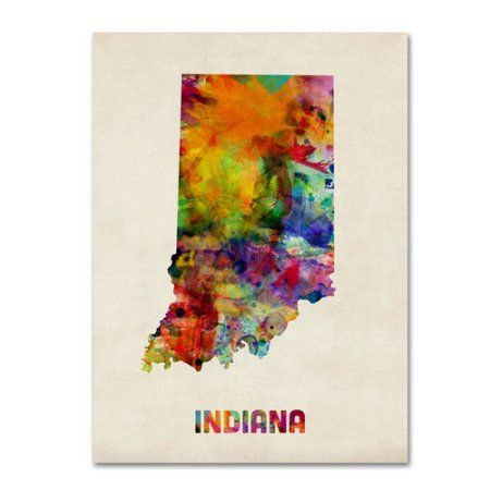 Trademark Fine Art Indiana Map Canvas Wall Art by Michael Tompsett, Size: 14 x 19, Multicolor
