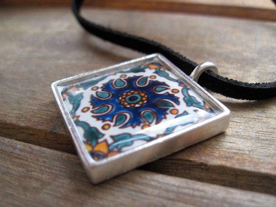 Pendant Mediterranean decorative tile inspired by ShrunkenCatHeads, $27.00