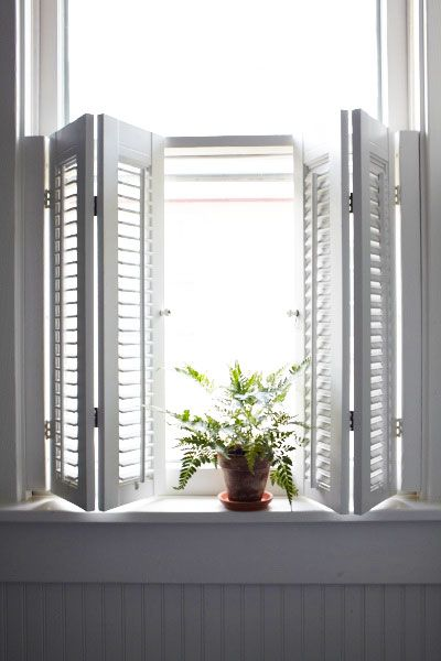 Create privacy in a bath with faux-wood window shutters. They're mold- and mildew-resistant, won't warp, and never need painting. Allen + Roth Faux Wood Interior Shutter, about $35; lowes.com