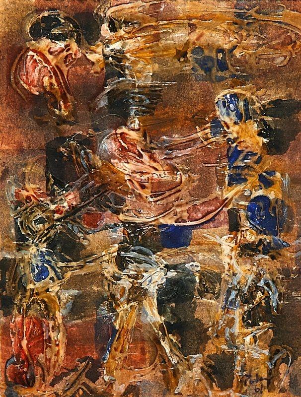 Tobey, Mark: Dance. 1968. Glue and gouache on vellum. 14,2 x 11,2cm. Tobey accordait un grand intérêt à la nature, qui était une de ses sources d'inspiration majeures. Comme beaucoup d'autres jeunes peintres américains de son temps, sa forme picturale a été largement influencée par l'effet du « all-over ».