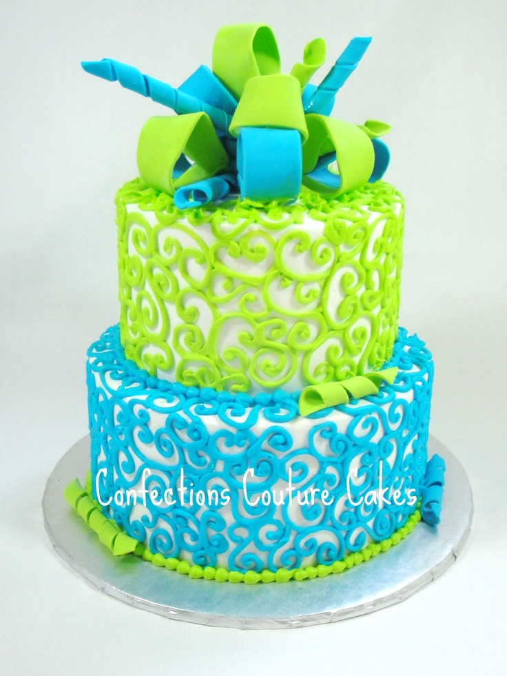 Electric Blue And Lime Green Baby Shower Cake