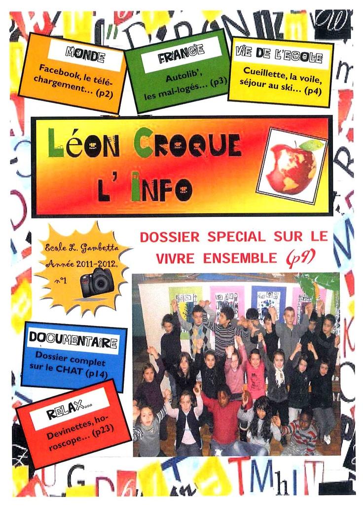 Léon croque l'info, n° 1, déc. 2011, journal de l'école élémentaire Gambetta, Dreux (28).