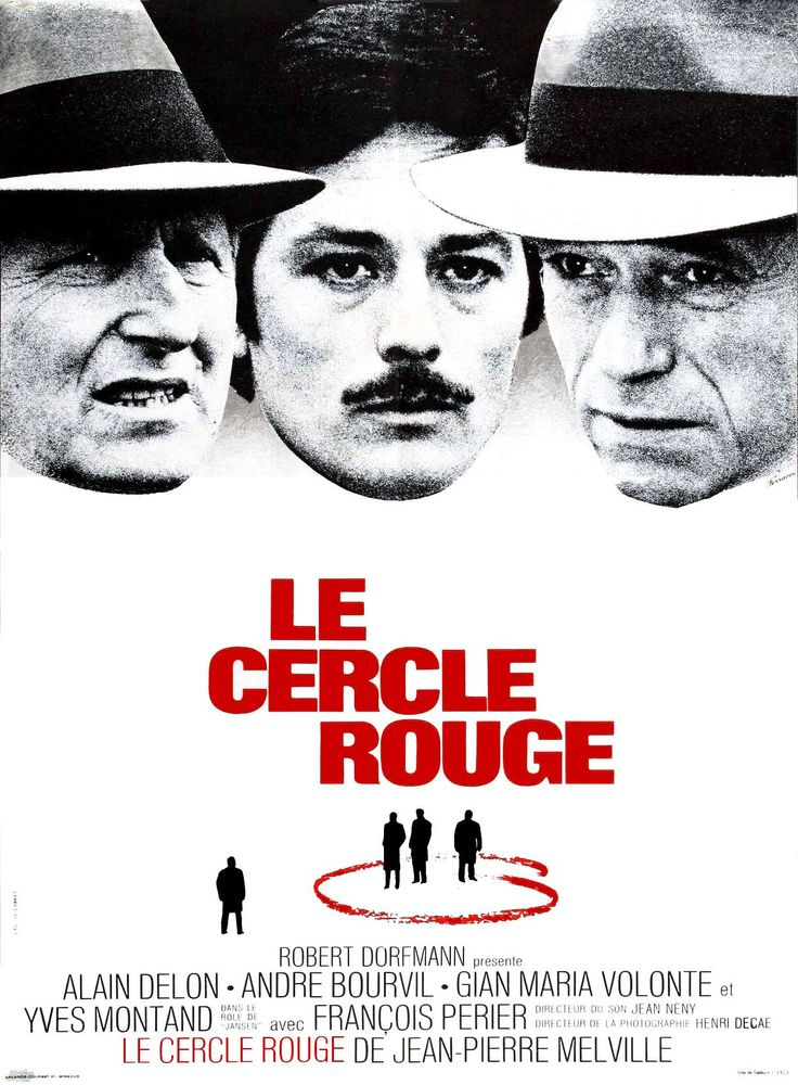 Le Cercle Rouge is a 1970 Franco-Italian crime film set mostly in Paris. It was directed by Jean-Pierre Melville and stars Alain Delon, Andre Bourvil, Gian Maria Volontè and Yves Montand. It is known for its climactic heist sequence which is about half an hour in length and without any dialogue.