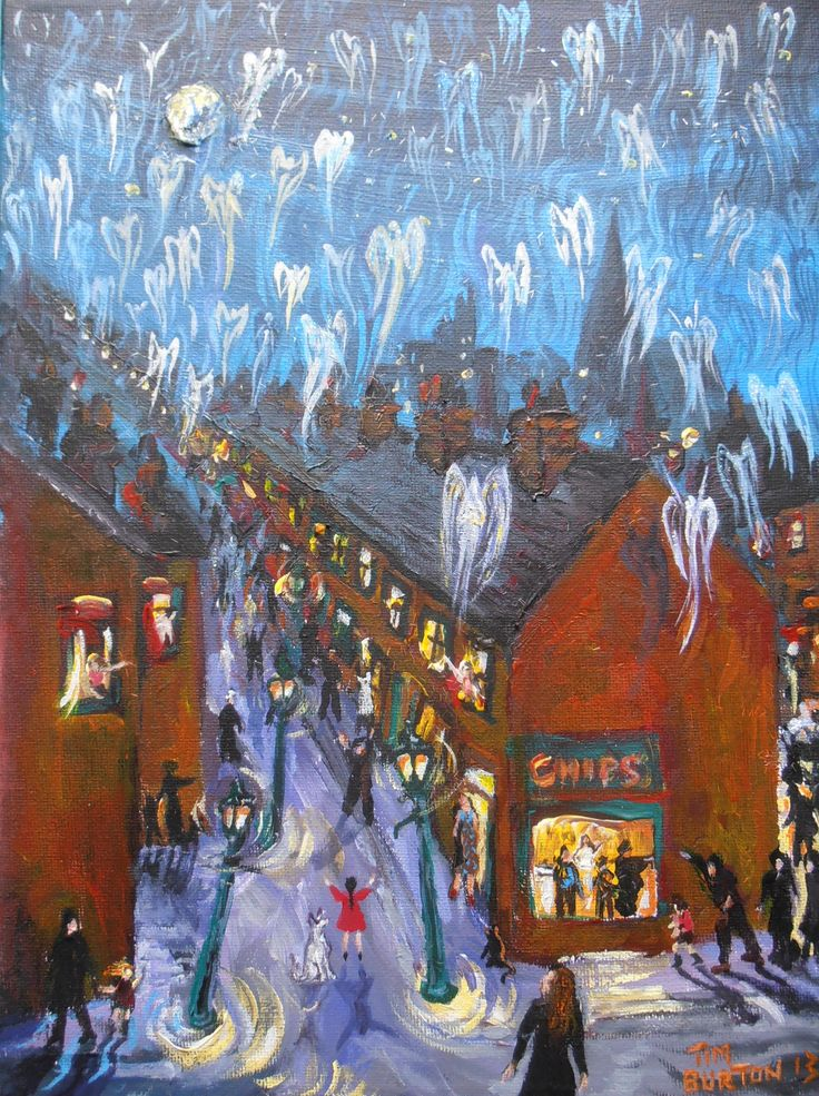 Long Row, The Night the Angels Came Down, acrylic and glitter on stretched canvas.