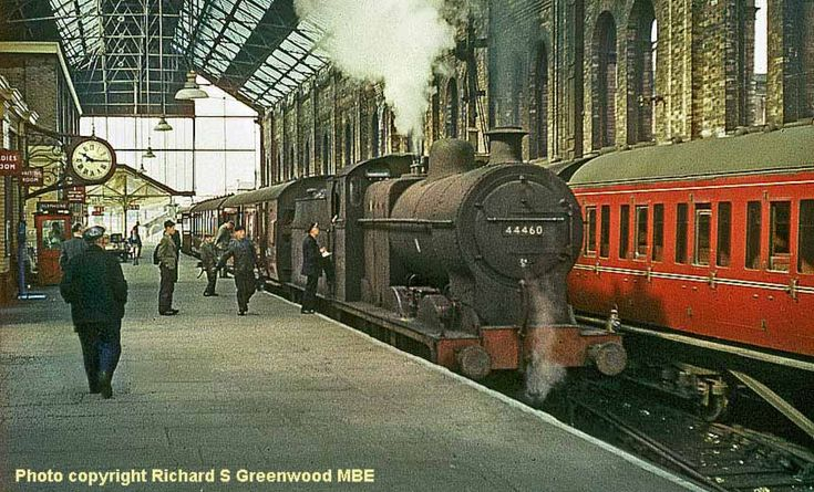 Blackburn, England UK - station on the morning of 10 May 1961, with Class 4F 0-6-0 44460 of Lower Darwen shed awaiting departure with the 10.19am fast train to Hellifield which called only at Clitheroe. David Heys steam diesel photo collection - RAIL CAMERAMAN GREENWOOD - Arch Style architecture