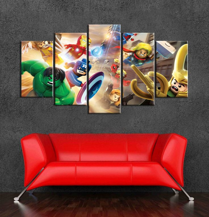 Lego marvel superheros wall art canvas of 5 pieces umframed wall pictures for nursery decoration