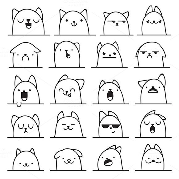 Set of 20 different doodle emotions by Lauritta on Creative Market