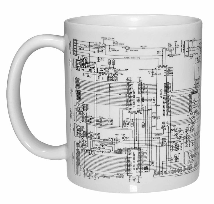 Circuit diagram Image Coffee or Tea Mug. This coffee or tea mug portrays a section of a electrical circuit diagram. Your artsy-fartsy friends will admire the unusual design, your technical friends will admire the logical structure, and your uber-nerdy friends will know exactly what this device actually is.