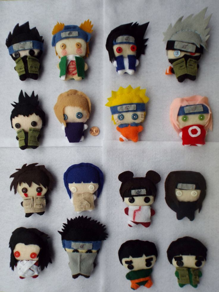 Naruto Anime Series: Genin Teams Plushies by MaryJunebug on Etsy https://www.etsy.com/listing/191637330/naruto-anime-series-genin-teams-plushies