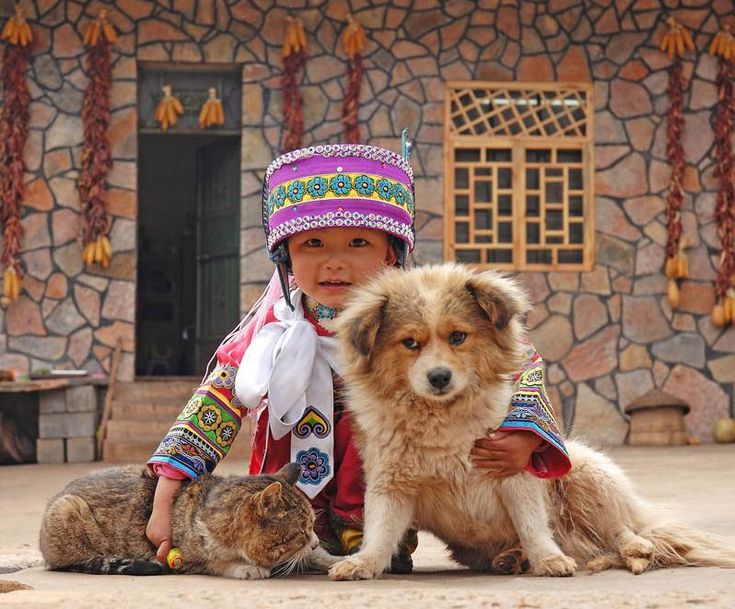 A Chinese girl from Yunnan with her two loyal friends - Pixdaus